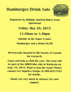 Hamburger/Drink Sale - FUNDRAISER FOR MS SOCIETY @ Outside Super A
