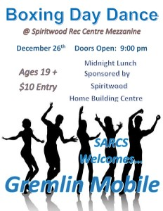 Boxing Day Dance @ Spiritwood Rec Centre Mezzanine