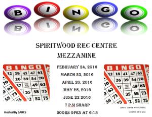 Bingo @ Spiritwood Rec Centre Mezzanine