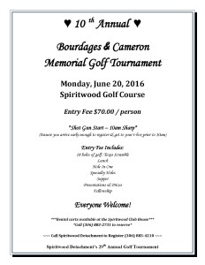 10th Annual Bourdages and Cameron  Memorial Golf Tournament @ Spiritwood Golf Course