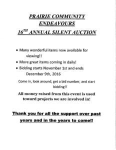 Prairie Community Endeavours 16th Annual Silent Auction @ Praire Community Endeavours