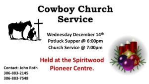 Cowboy Church Service and Potluck Supper @ Pioneer Centre | Spiritwood | Saskatchewan | Canada