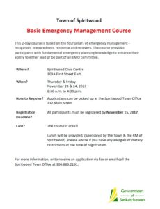Basic Emergency Management Course @ Spiritwood Civic Centre  | Spiritwood | Saskatchewan | Canada