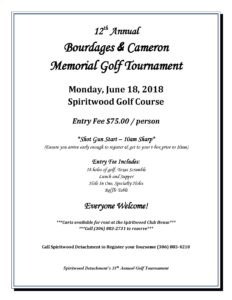 12th Annual Bourdages and Cameron Memorial Golf Tournament @ Spiritwood Golf Course