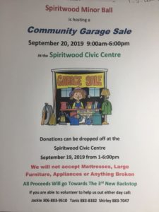 Minor Ball Community Garage Sale @ Spiritwood Civic Centre