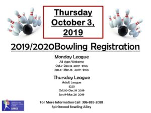 2019/2020 Bowling League Registration @ Spiritwood Rec Centre