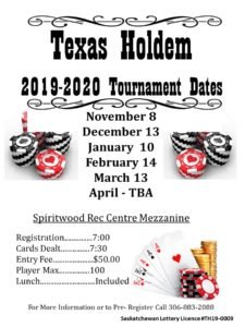 Texas Hold'em Tournament @ Spiritwood Rec Centre - Mezzanine
