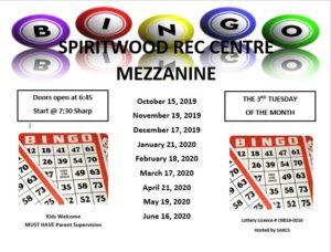 Bingo @ Spiritwood Rec Centre - Mezzanine