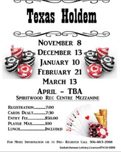 Texas Hold'Em @ Spiritwood Rec Centre - Mezzanine
