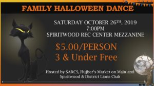 Family Halloween Dance @ Spiritwood Rec Centre - Mezzanine